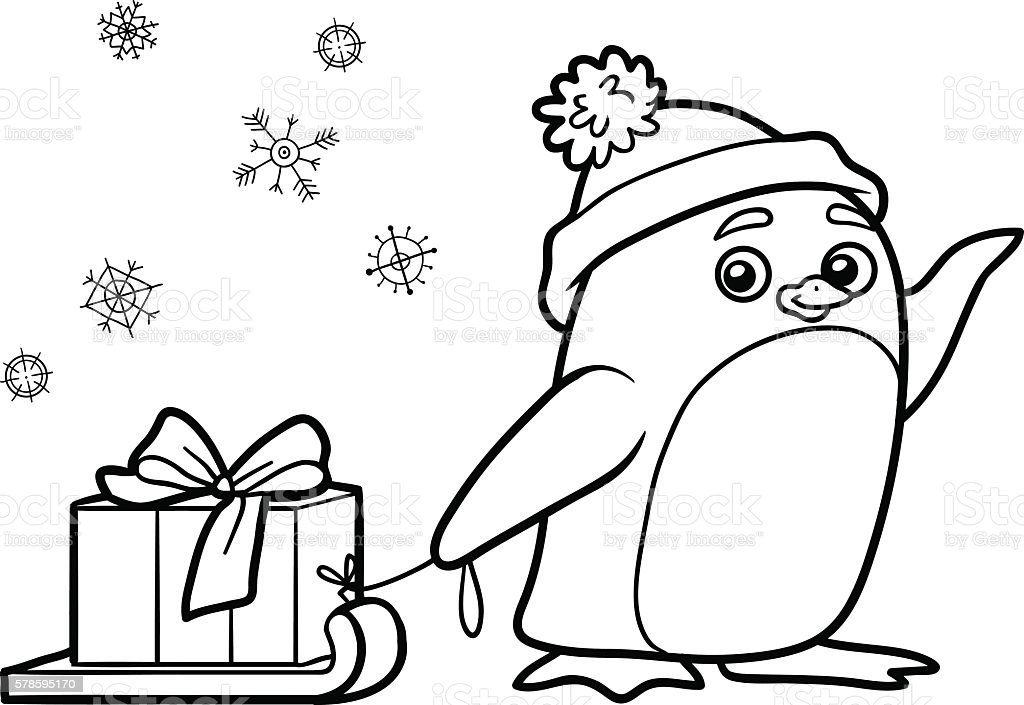 Coloring book, penguin with christmas gift – Vektorgrafik