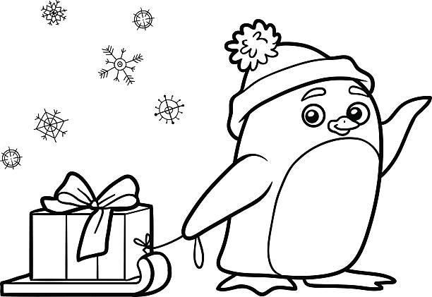 coloring book, penguin with christmas gift - 색칠하기 stock illustrations
