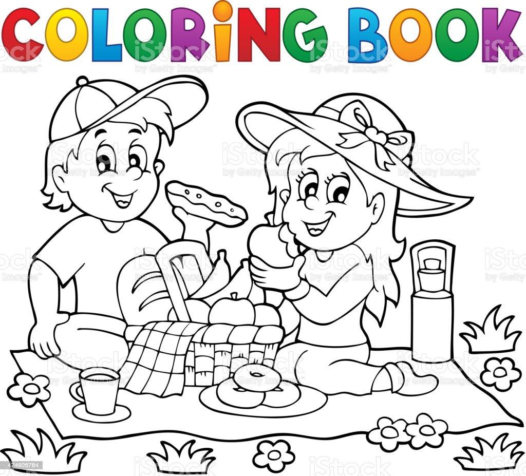 Ilustración de Libro Para Colorear Picnic Tema 1 y más banco de ...