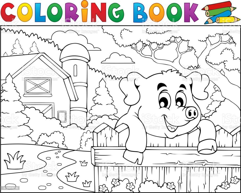 Ilustración de Libro Para Colorear Cerdo Detrás Valla Cerca De La ...