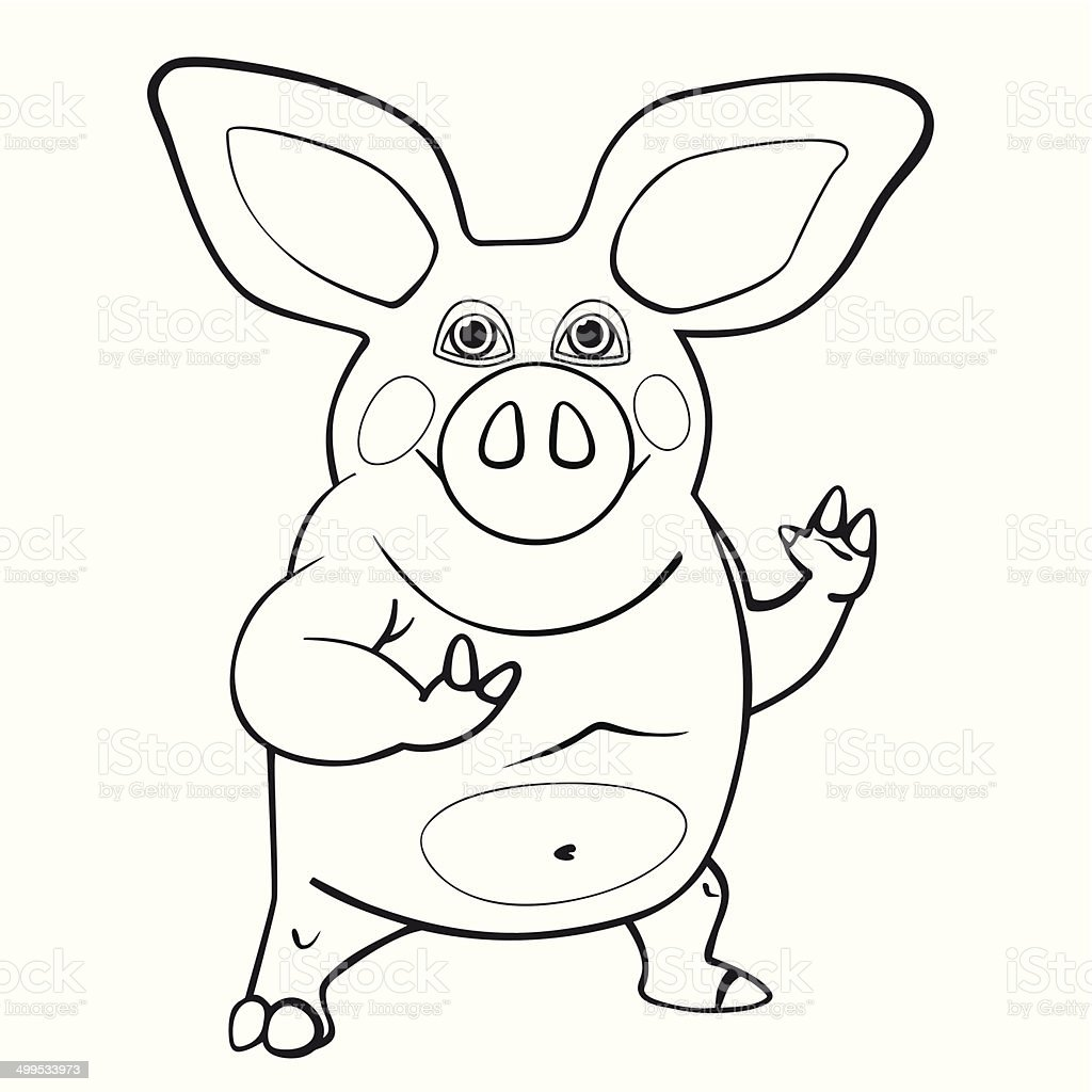 coloring book pig vector art illustration