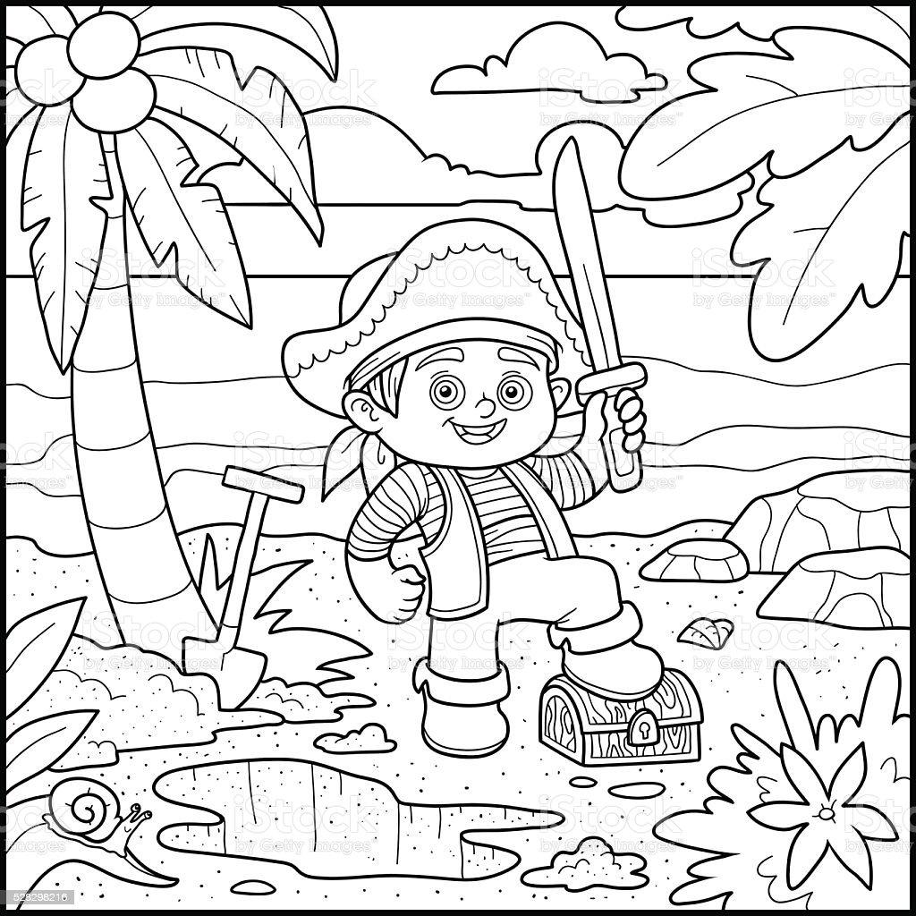 ilustração de livro de colorir pirata e baú de tesouros em uma ilha