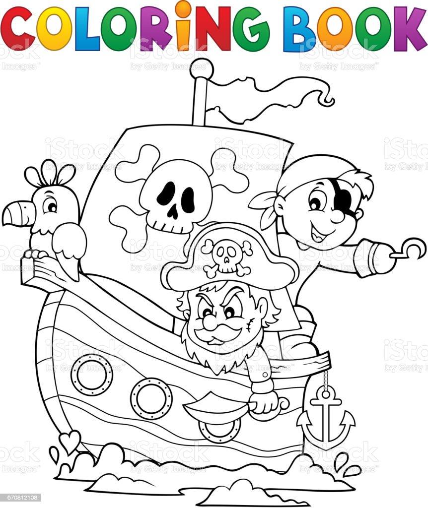Tema De Barco De Piratas Para Colorear Libro 1 - Arte vectorial de ...