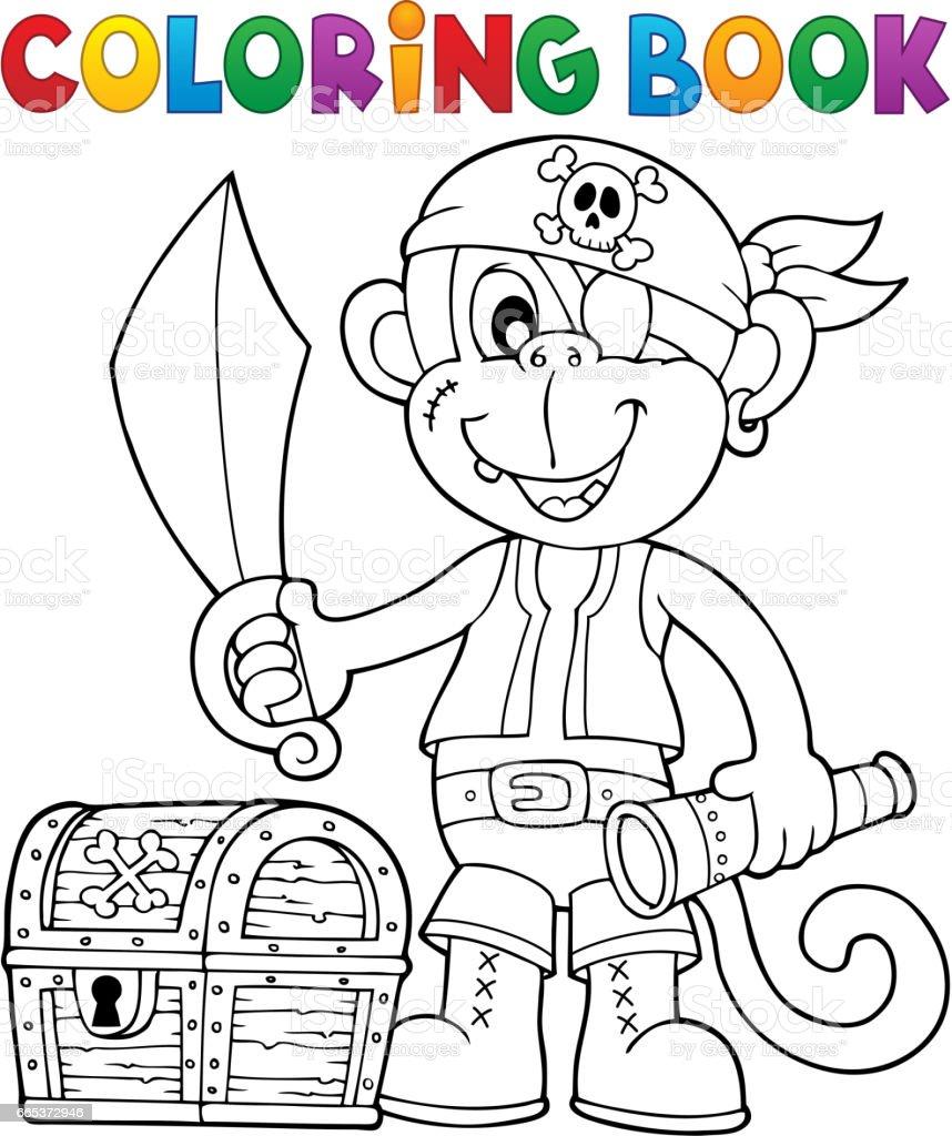 Malbuch Piraten Affe Bild 26 Stock Vektor Art und mehr Bilder von