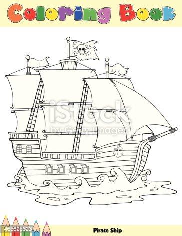 istock Navegación recipiente. Libro para colorear página. Ilustración ...