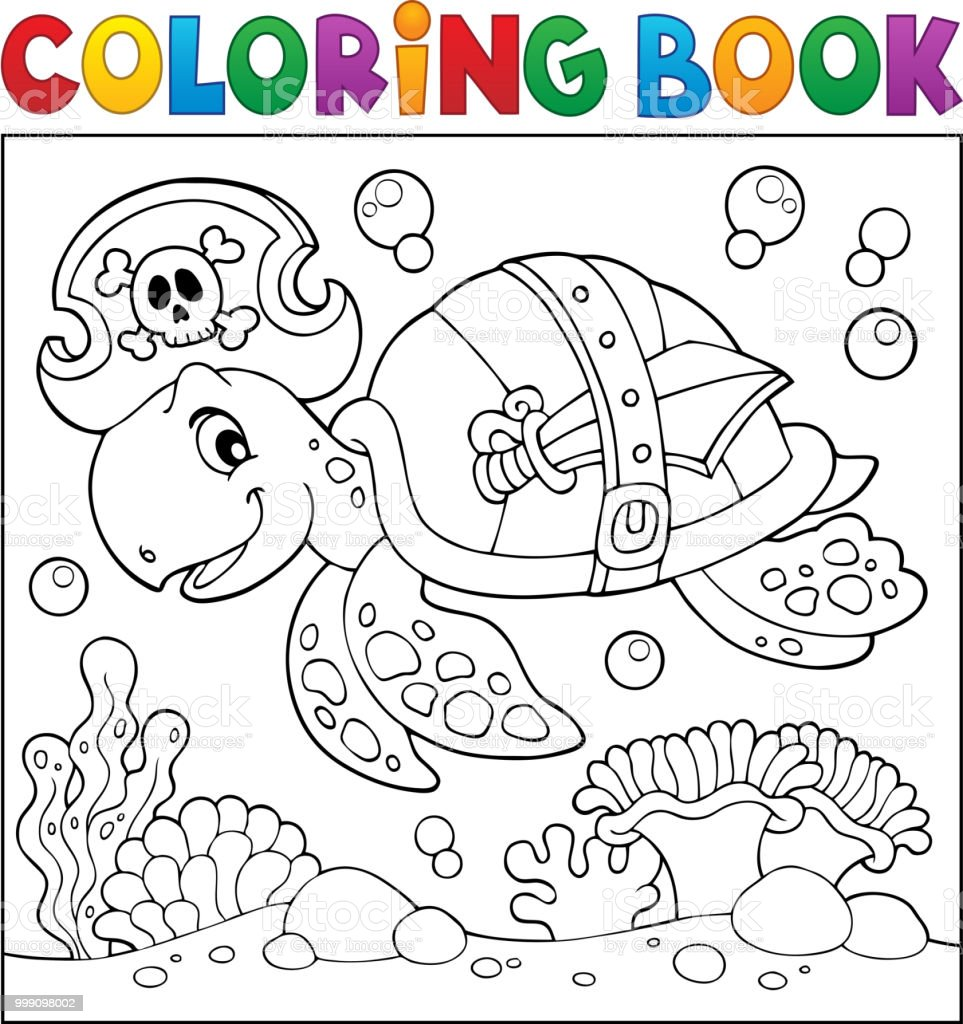 Boyama Kitabı Korsan Kaplumbağa Tema 2 Stok Vektör Sanatı Akuatik