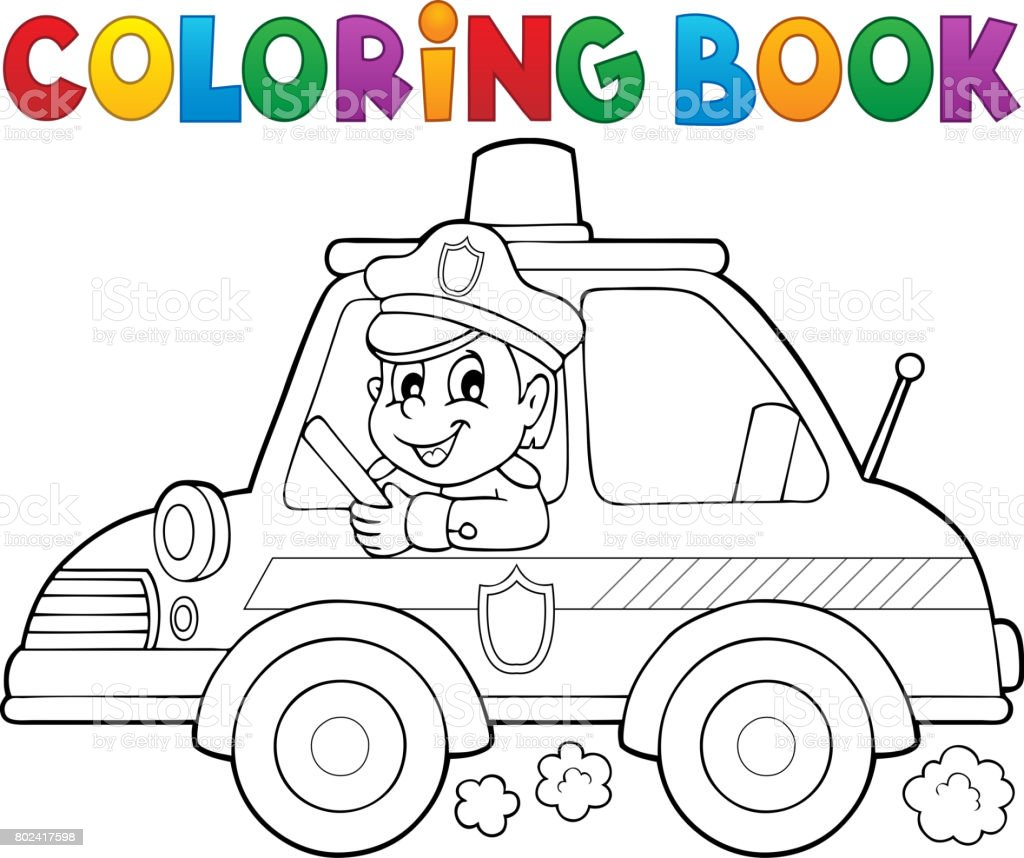 Coloring Book Police Car Theme 1 Stock Vector Art More Images Of