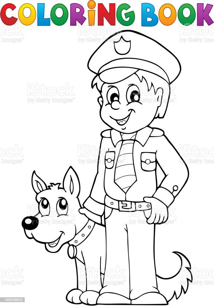 Coloriage Chien De Garde.Livre De Coloriage Avec Garde De Chien Policier Vecteurs