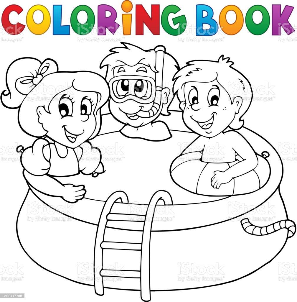 Ilustración De Los Niños Y Piscina De Libro Para Colorear Y