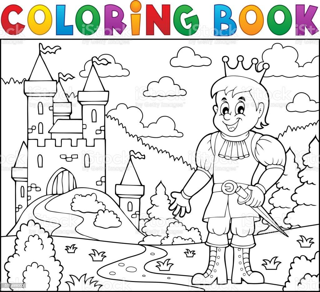 Ilustración de Libro Para Colorear Príncipe Cerca Del Castillo y más ...