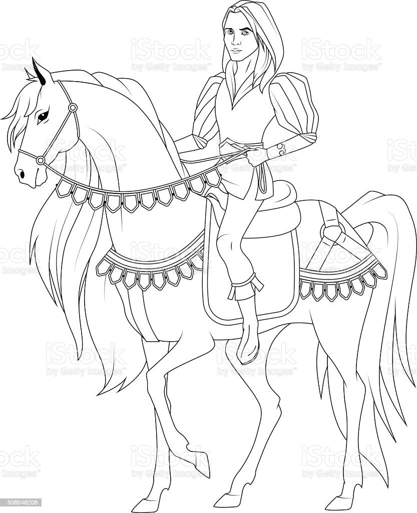 Coloring Book Prince On The Horse Stock Vector Art & More Images of ...