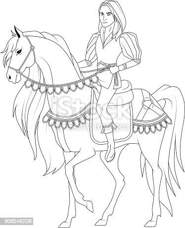 Ilustración de Libro Para Colorear Príncipe En Los Caballos y más ...