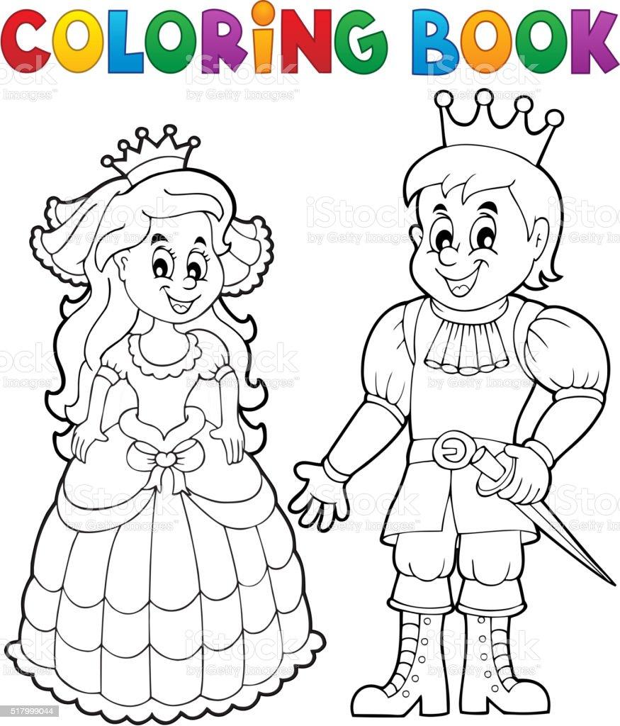 Ilustración de Libro Para Colorear Princesa Y Príncipe y más banco ...