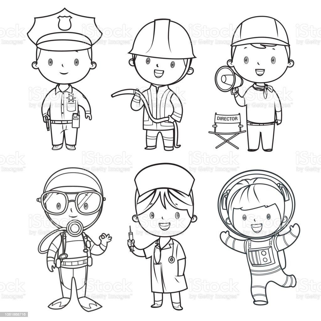Livre De Coloriage Enfants De Professions Mis Vecteurs Libres De