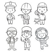 Coloring book, professions kids set