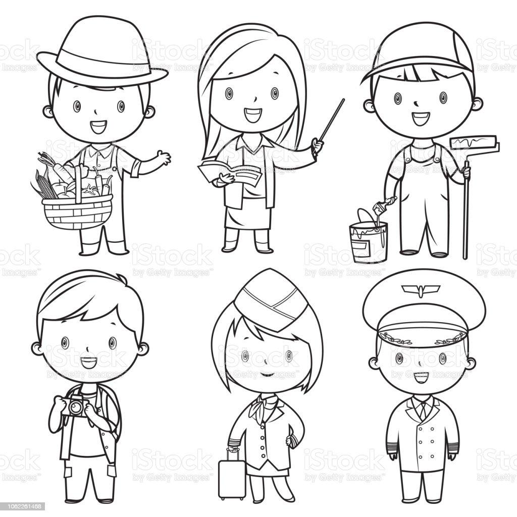 Ilustración De Libro Para Colorear Profesiones Niños Set Y Más Vectores Libres De Derechos De