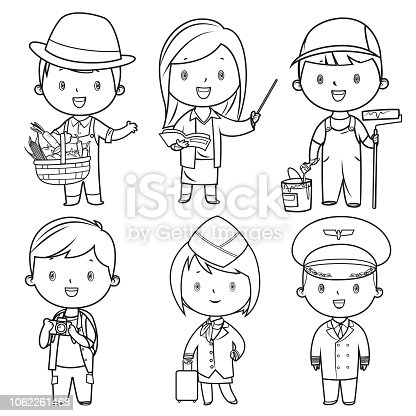 istock Coloring Book, Professions kids set 1062261468
