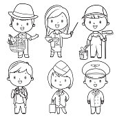 Coloring Book, Professions kids set