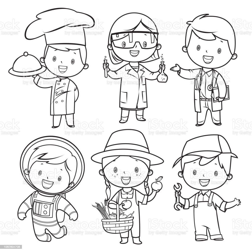 Boyama Kitabı Meslekler çocuklar Ayarla Stok Vektör Sanatı 13 19