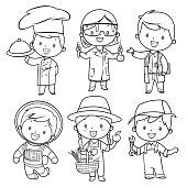 Vector coloring book, professions kids set