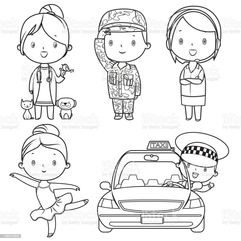 Coloring Book Professions Kids Set Stock Illustration ...