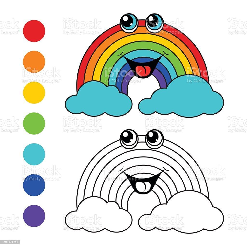 Ilustración de Libro Para Colorear Arco Iris Los Niños De ...