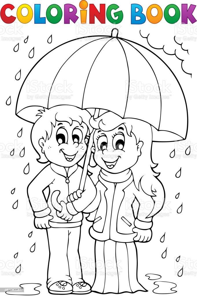 Ilustración de Libro Para Colorear Con Lluvia Clima Tema 1 y más ...