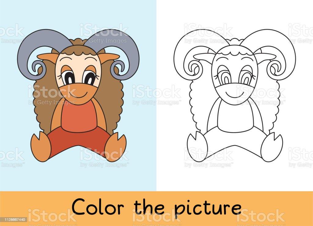 Boyama Kitabi Ram Koyun Karikatur Hayvan Cocuk Oyun Renkli Resmi