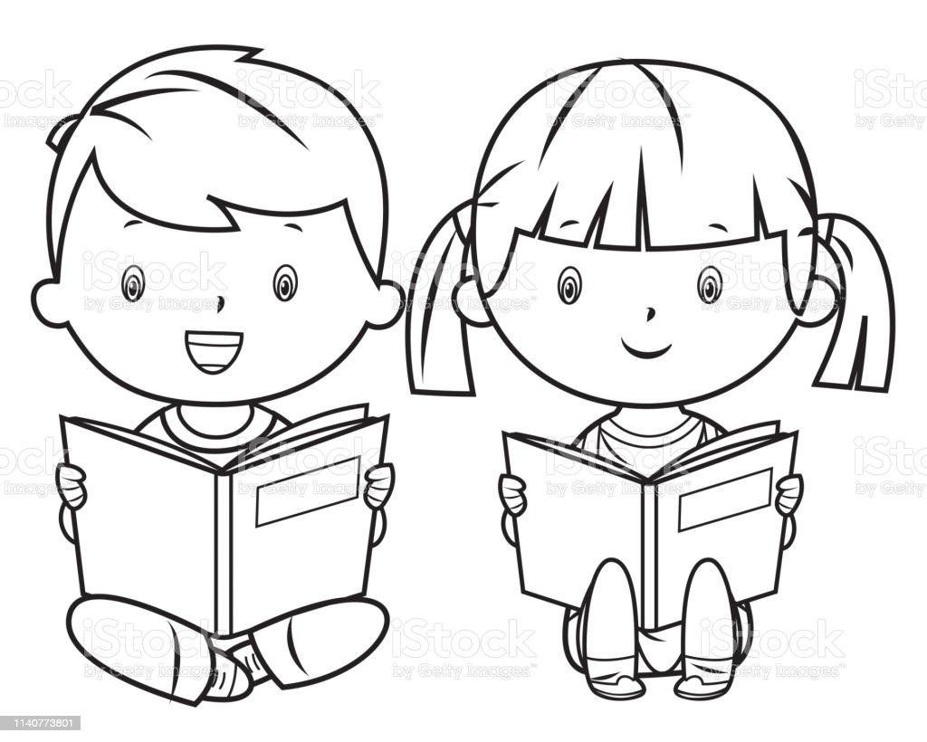 Boyama Kitabi Kitap Okuma Stok Vektor Sanati 13 19 Yas Arasi