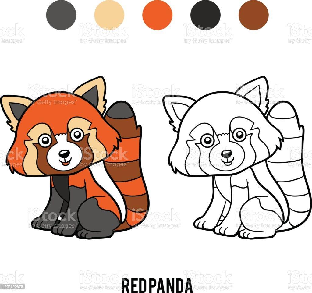 Boyama Kitabi Kirmizi Panda Stok Vektor Sanati Anaokulu Nin Daha