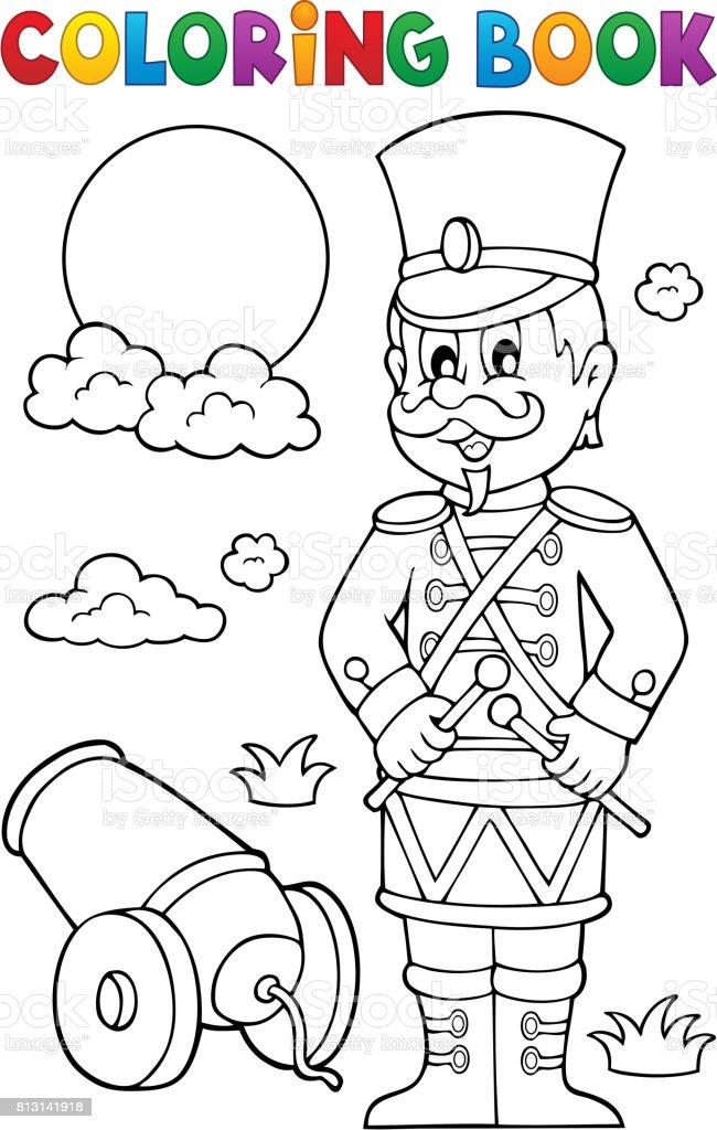 Boyama Kitabı Retro Asker Stok Vektör Sanatı Adamlarnin Daha