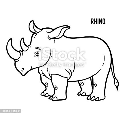 Coloring Book Rhino Stock Vector Art & More Images of