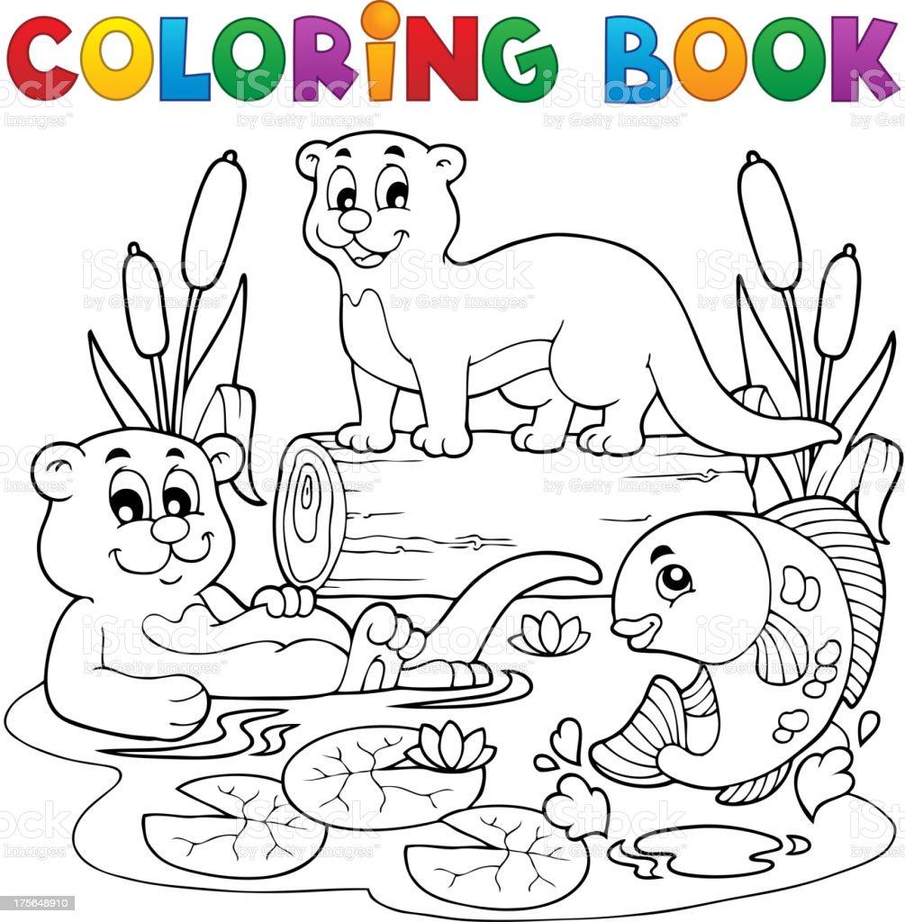 Ilustración De Libro Para Colorear Río Fauna Imagen 3 Y Más