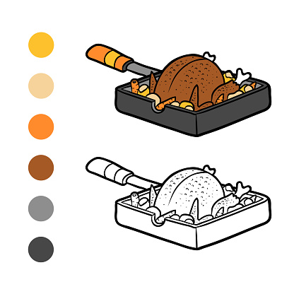 Coloring book, Roasted Chicken in a frying pan