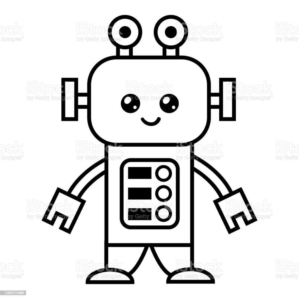 Coloring Book Robot Stock Illustration Download Image Now Istock