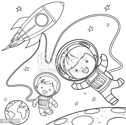 Vector Coloring Book, Rocket during a space travel.