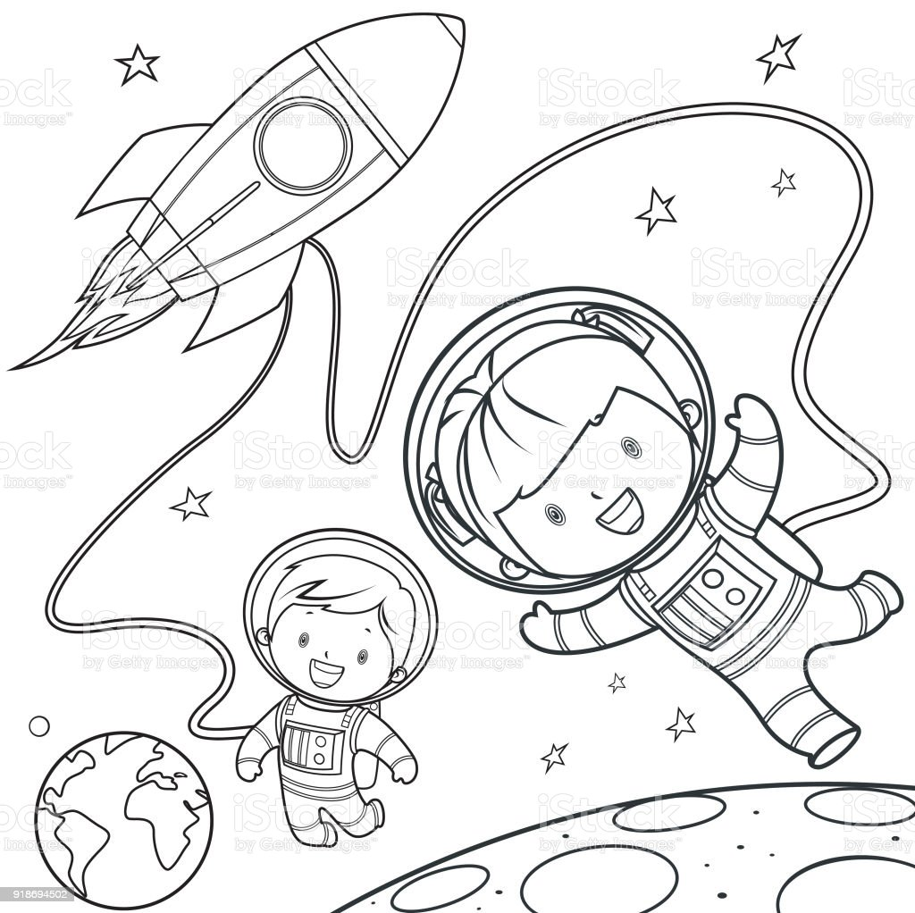 Coloring Book, Rocket during a space travel. vector art illustration
