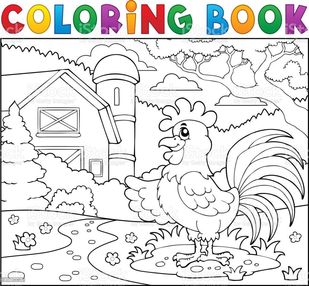 Coloriage Ferme Fleur.Livre De Coloriage Coq Proximite De La Ferme Vecteurs Libres De