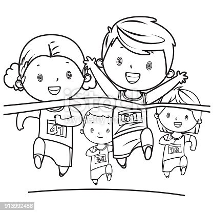 Coloring Book Running Kids Stock Vector Art & More Images