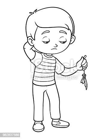 Boyama Kitabı üzgün çocuk Tutun Patlak Balon Stok Vektör Sanatı