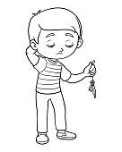 Ilustración De Libro Para Colorear Niño Triste Sostener Globo