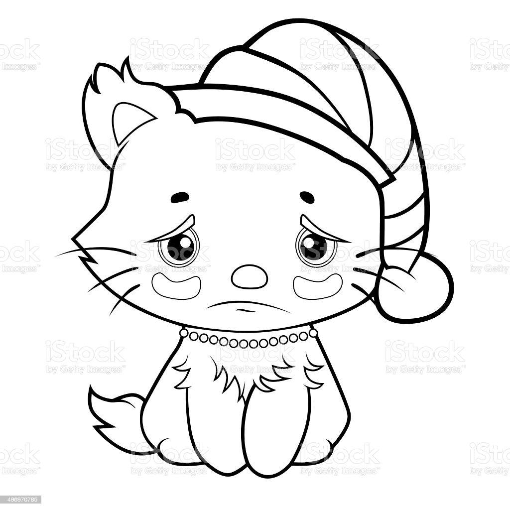 Libro Para Colorear Triste Kitty - Arte vectorial de stock y más ...