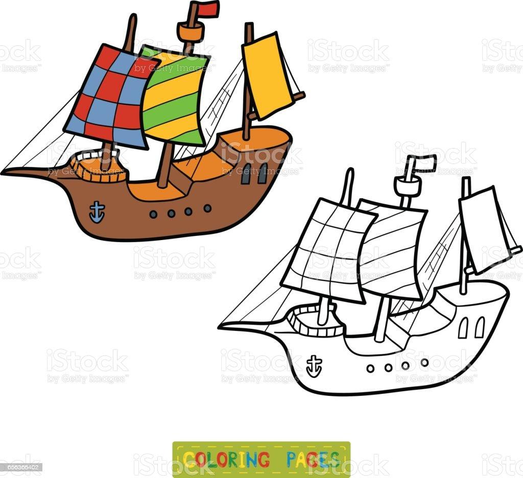Boyama Kitabi Yelkenli Gemi Stok Vektor Sanati Beyazlatmak Nin