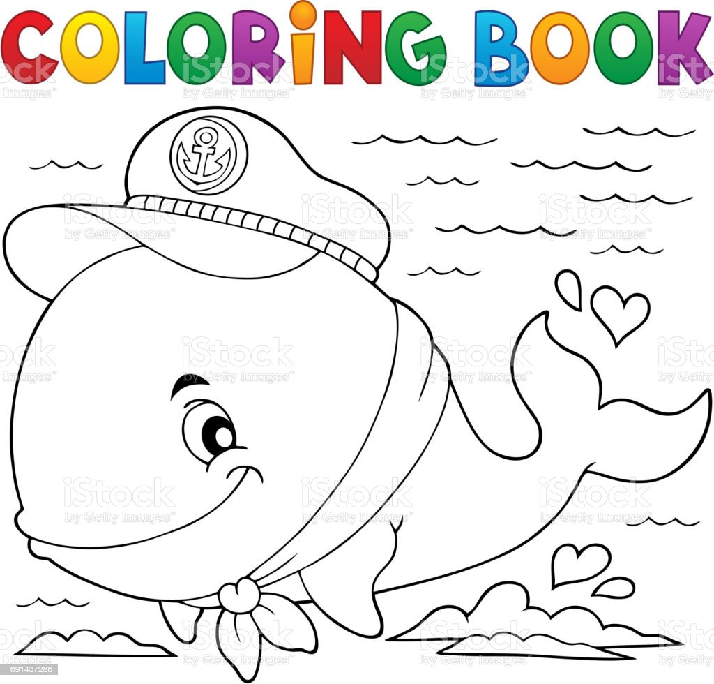 Coloring Book Sailor Whale Theme 1 Stock Vector Art More Images Of