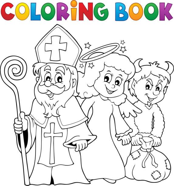 illustrations, cliparts, dessins animés et icônes de thème de la journée de la saint-nicolas livre 1 à colorier - saint nicolas