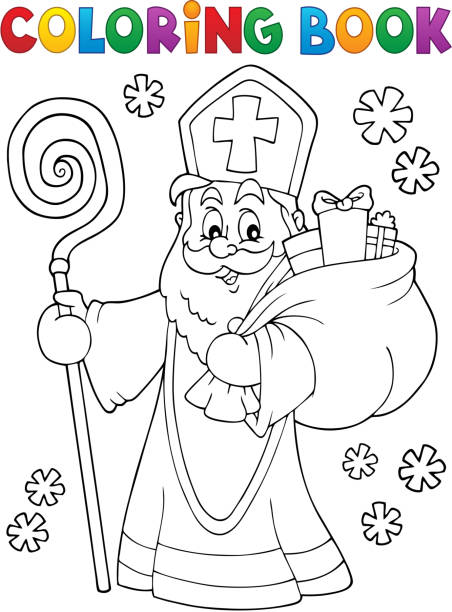stockillustraties, clipart, cartoons en iconen met kleurboek sint nicolaas topic 2 - cadeau sinterklaas