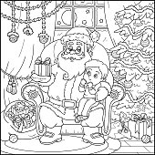 Coloring book: Santa Claus gives a gift a little boy