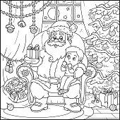 Coloring book: Santa Claus gives a gift a little boy