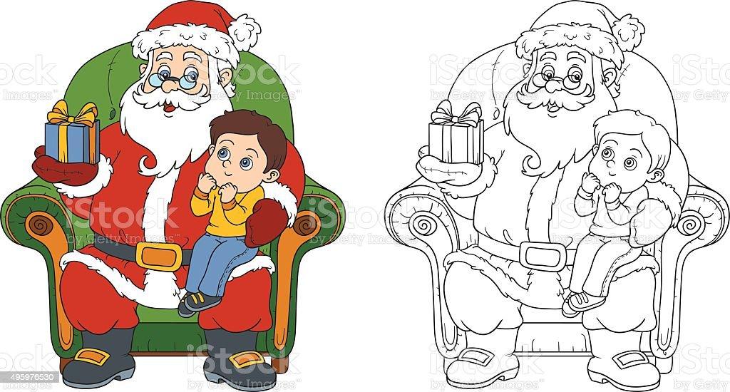 Ilustración de Libro Para Colorear Santa Claus Da Un Regalo De Un ...