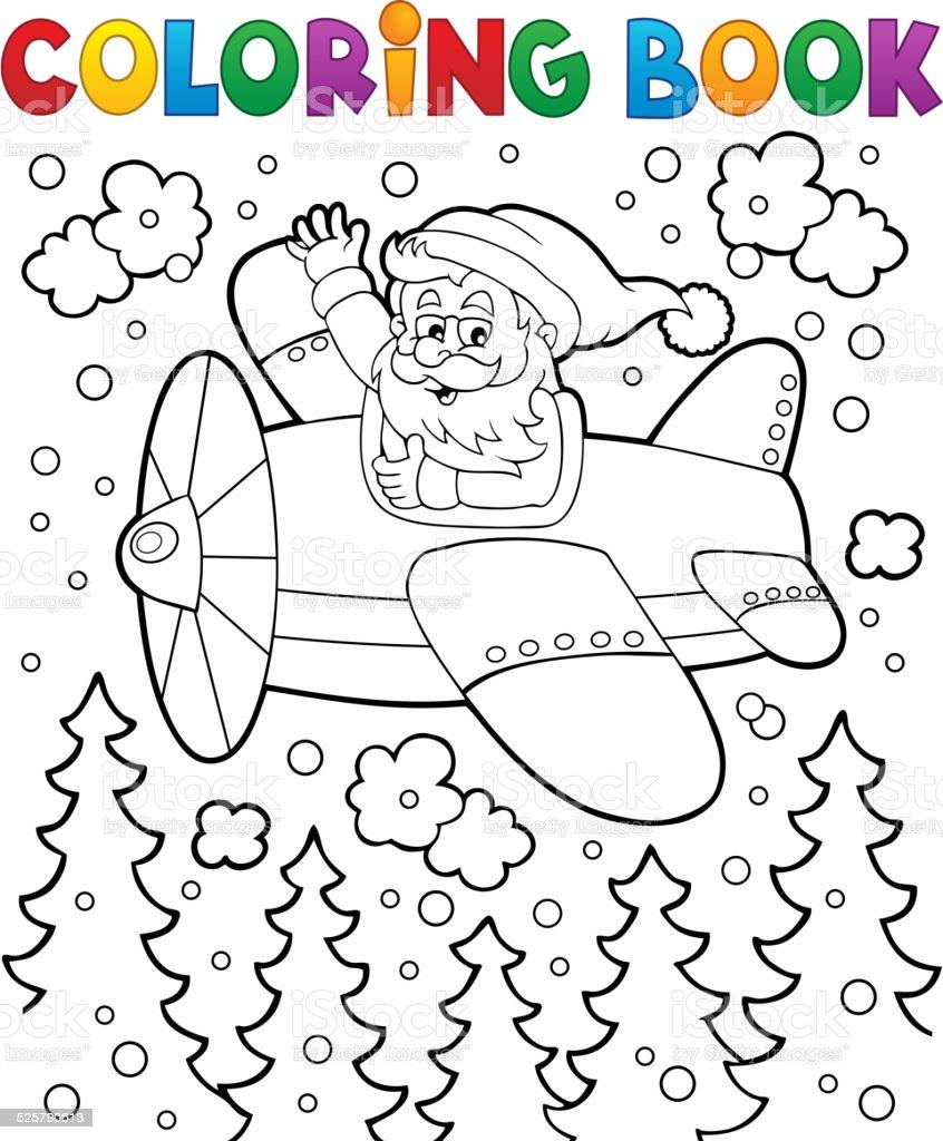 Ilustración De Libro Para Colorear Santa Claus En Avión Y Más